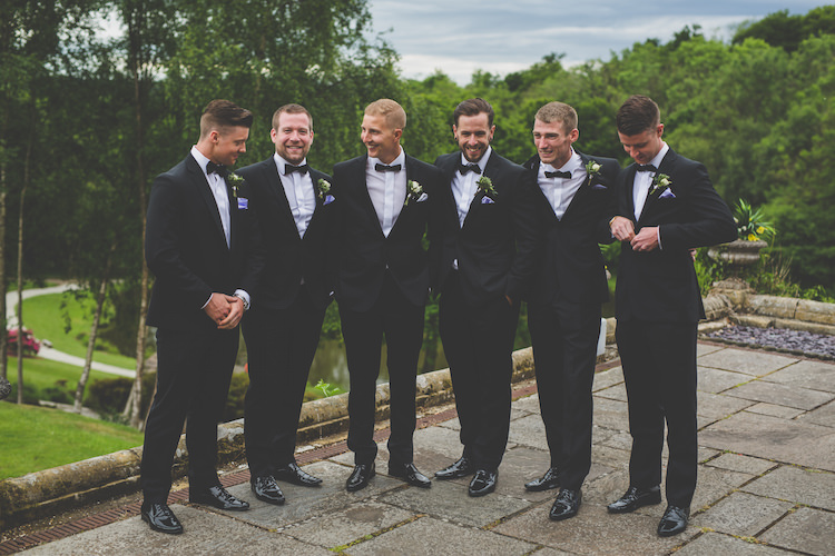 Groom Groomsmen Bow Tie Tuxedo Blue Pocket Square Black Tie Glamour Country Estate Wedding https://www.chrisblackledgephotography.co.uk/