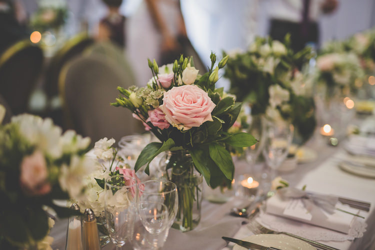 Floral Flowers Pink White Rose Greenery Grey Voile Table Setting Jars Vases Black Tie Glamour Country Estate Wedding https://www.chrisblackledgephotography.co.uk/