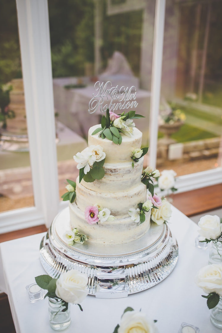 Semi-Naked Cake Buttercream Mr & Mrs Cut Out Topper Glitter Black Tie Glamour Country Estate Wedding https://www.chrisblackledgephotography.co.uk/