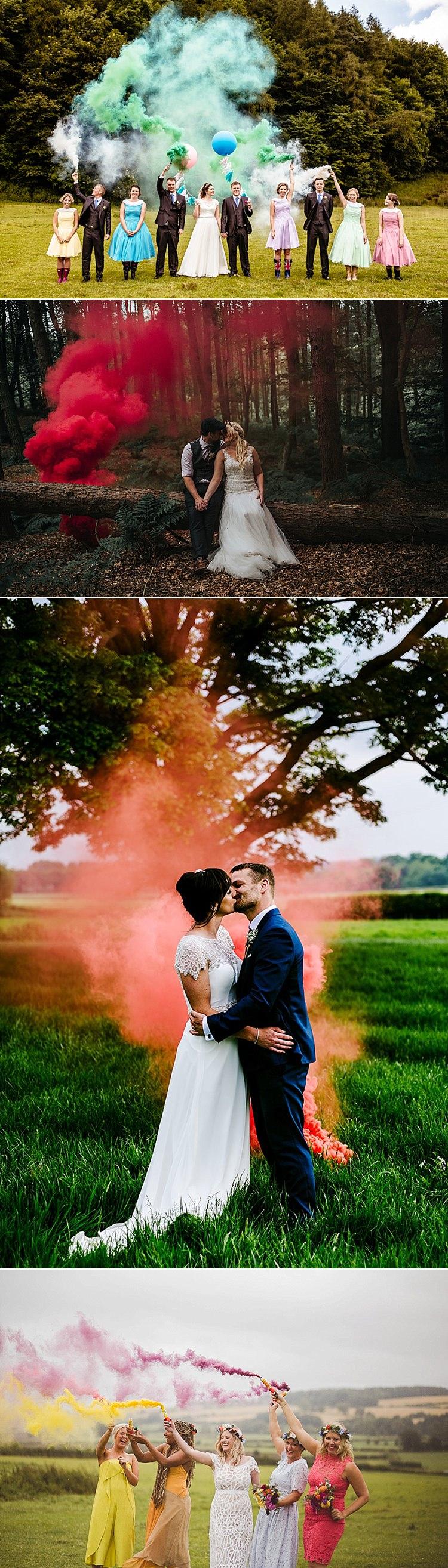 Why We Love Smoke Bomb Wedding Photographs | Whimsical