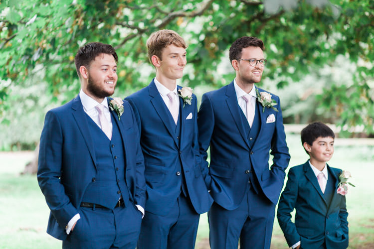 Groom Groomsmen Suit Navy Pink Ties Simple Natural Honest Marquee Wedding https://www.gemmagiorgio.com/
