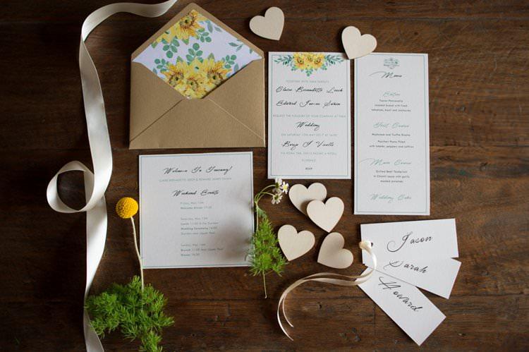 Stationery Sunflower Invites Save the Date Yellow Navy Outdoor Tuscany Wedding http://www.natalymontanari.com/