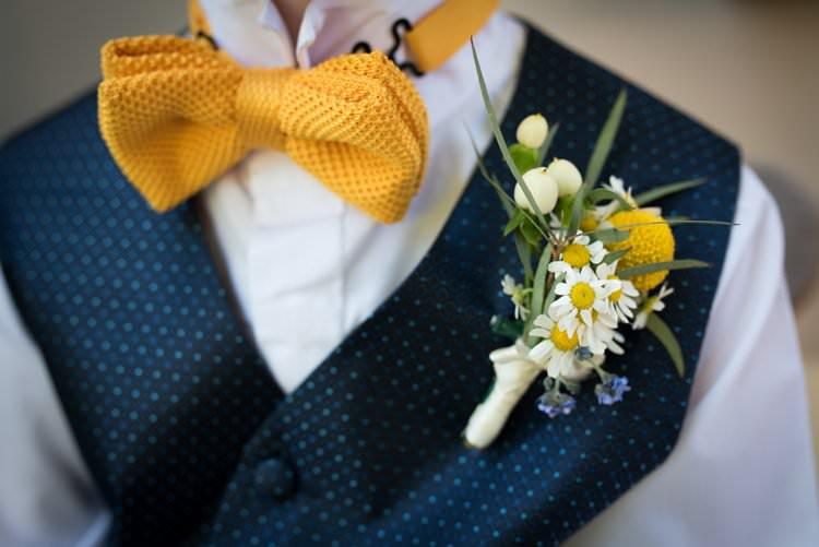 Knitted Bow Tie Polkadot Waistcoat Buttonhole Daisies Yellow Navy Outdoor Tuscany Wedding http://www.natalymontanari.com/