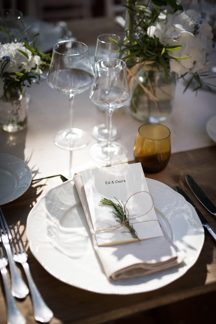 Rosemary Menu Table Decor Yellow Navy Outdoor Tuscany Wedding http://www.natalymontanari.com/