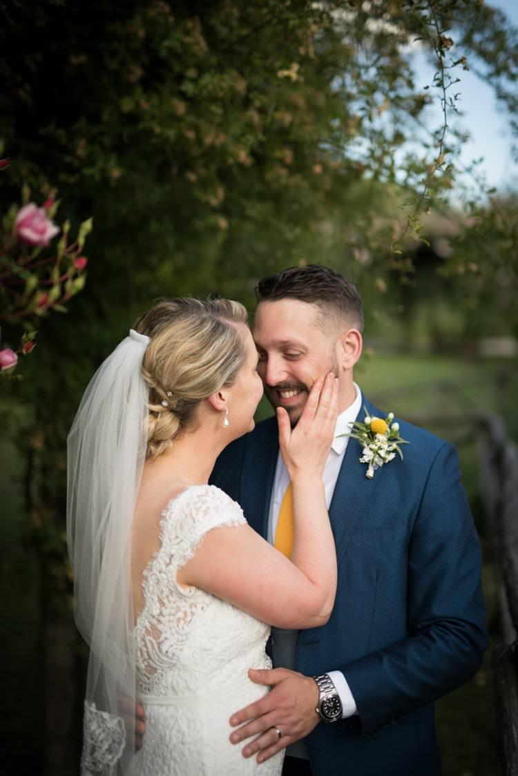 Bride Groom Lace Gown Cap Sleeve Long Veil Yellow Navy Outdoor Tuscany Wedding http://www.natalymontanari.com/