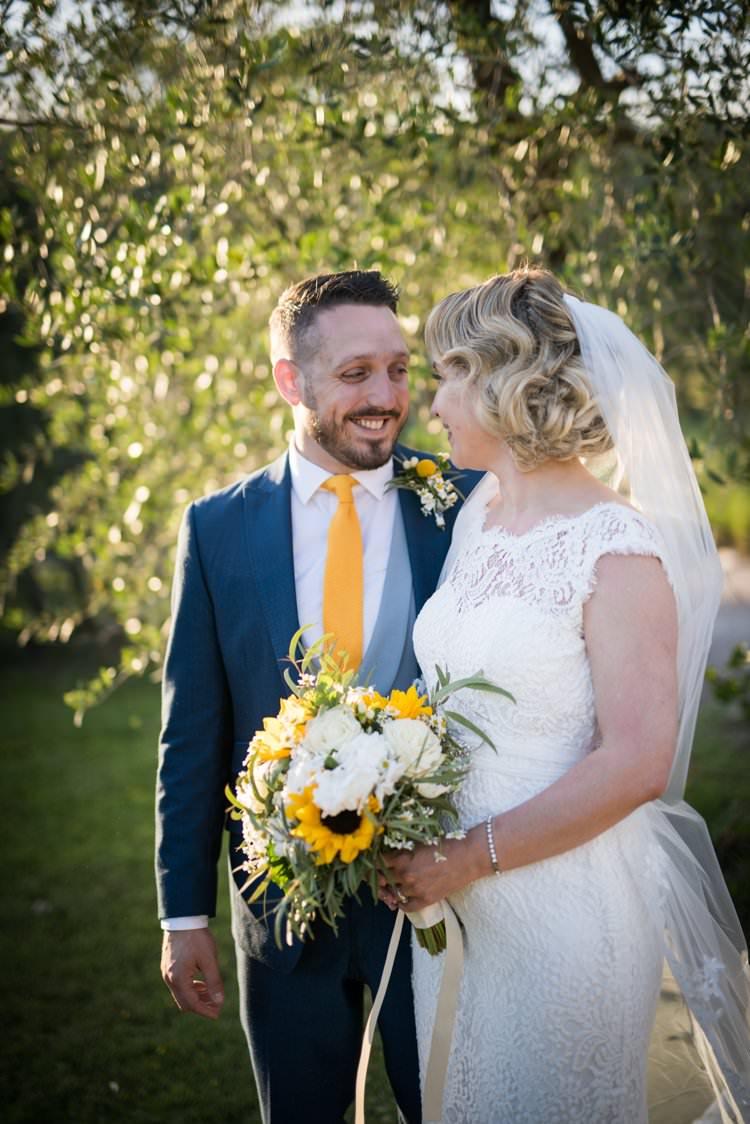 Veil Long Lace Up-Do Scoop Back Gown Cap Sleeve Groom Yellow Navy Outdoor Tuscany Wedding http://www.natalymontanari.com/