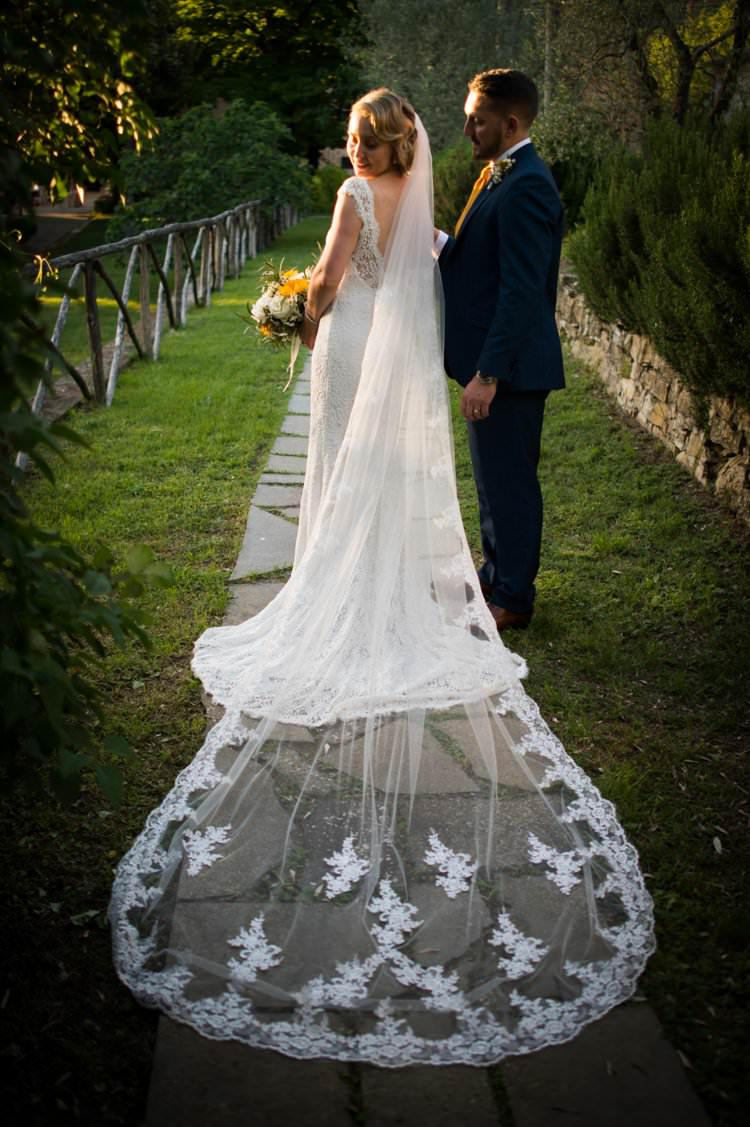 Veil Long Lace Up-Do Scoop Back Gown Cap Sleeve Yellow Navy Outdoor Tuscany Wedding http://www.natalymontanari.com/