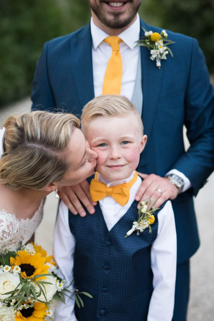 Veil Long Lace Up-Do Scoop Back Gown Cap Sleeve Groom Page Boy Yellow Navy Outdoor Tuscany Wedding http://www.natalymontanari.com/