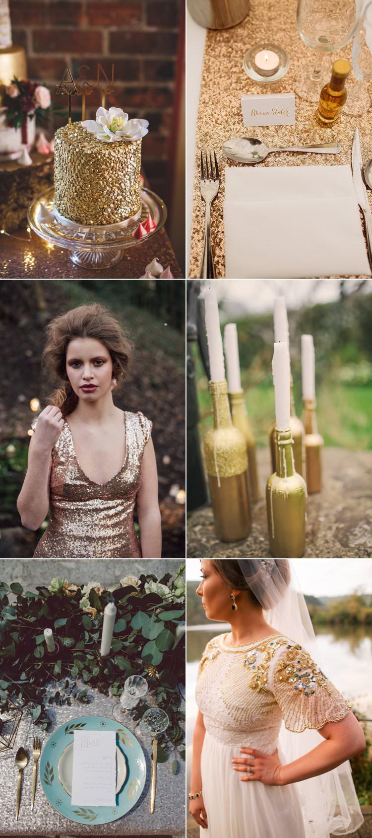 Christmas Wedding Ideas Sequin Glitter Gold Silver