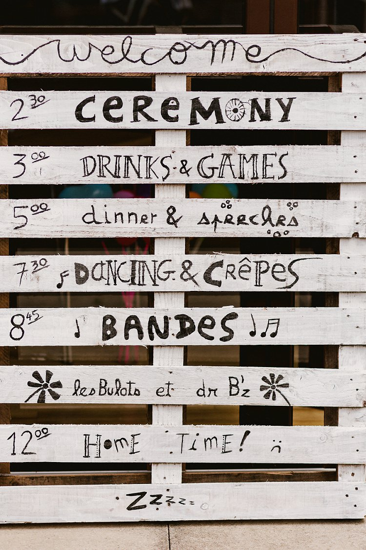 Pallet Sign Order of the Day Painted Multicoloured Hand Made Fun Outdoor Wedding https://www.sharrongibson.co.uk/
