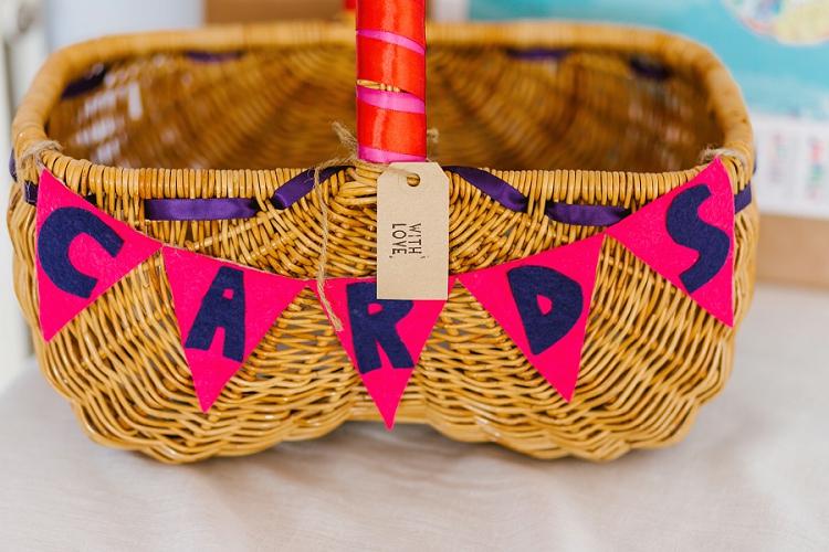 Cards Basket Bunting Ribbon Multicoloured Hand Made Fun Outdoor Wedding https://www.sharrongibson.co.uk/