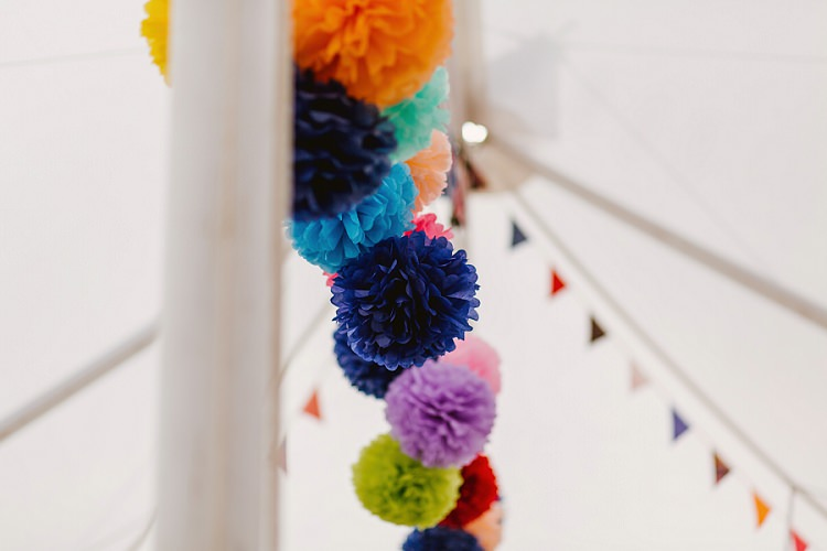 Paper Pom Poms Bunting Marquee Multicoloured Hand Made Fun Outdoor Wedding https://www.sharrongibson.co.uk/