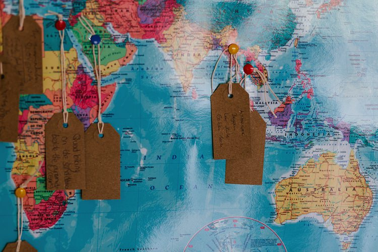 Bucket List Map Guest Book Luggage Tags String Multicoloured Hand Made Fun Outdoor Wedding https://www.sharrongibson.co.uk/
