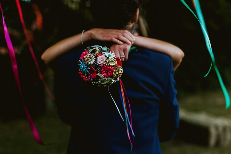 Vintage Button Brooch Bouquet Ribbon Multicoloured Hand Made Fun Outdoor Wedding https://www.sharrongibson.co.uk/