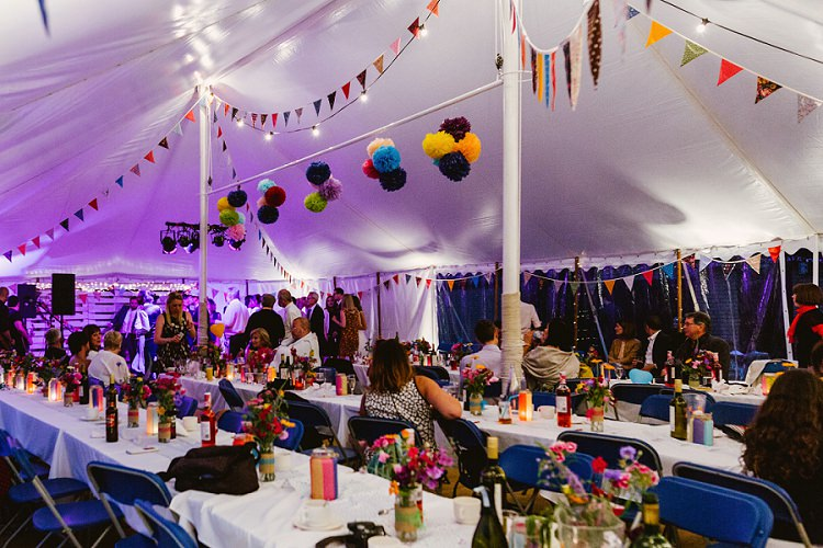 Traditional Pole Tent Marquee Bunting Paper Pom Poms Purple Light Multicoloured Hand Made Fun Outdoor Wedding https://www.sharrongibson.co.uk/
