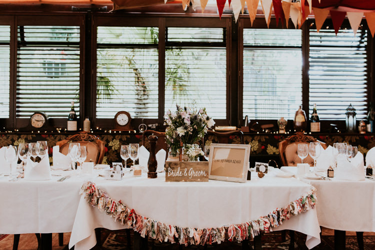 Top Table Rag Bunting Rustic Wooden Sign Unique Personal Natural Wedding Style https://photo.shuttergoclick.com/