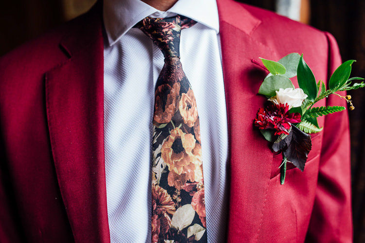 Floral Tie Groom Style Whimsical Stylish Burgundy Rose Gold Tent Wedding https://www.jakemorley.co.uk/