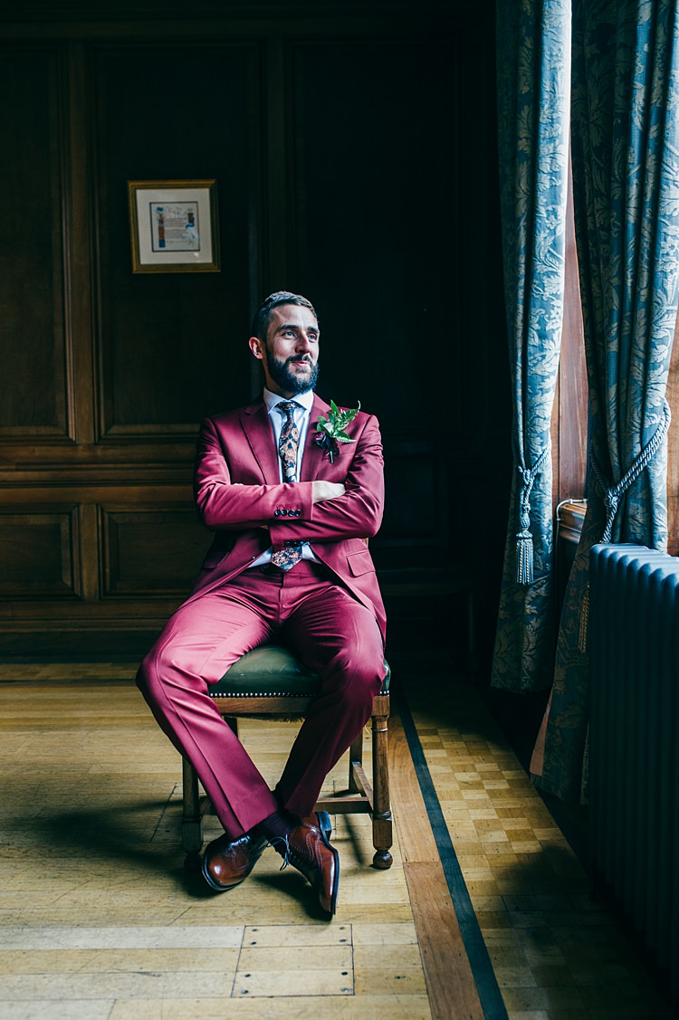 Suit Groom Floral Tie Whimsical Stylish Burgundy Rose Gold Tent Wedding https://www.jakemorley.co.uk/