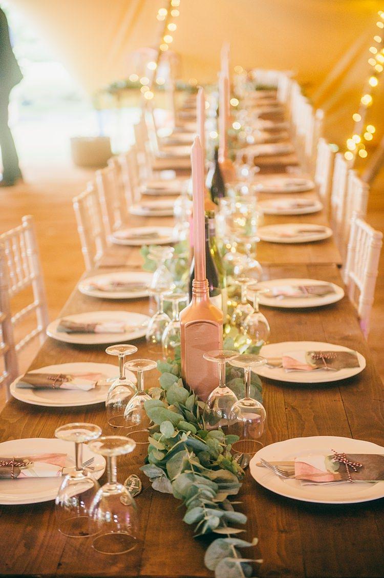 Bottle Candles Greenery Foliage Table Runner Swag Garland Whimsical Stylish Burgundy Rose Gold Tent Wedding https://www.jakemorley.co.uk/
