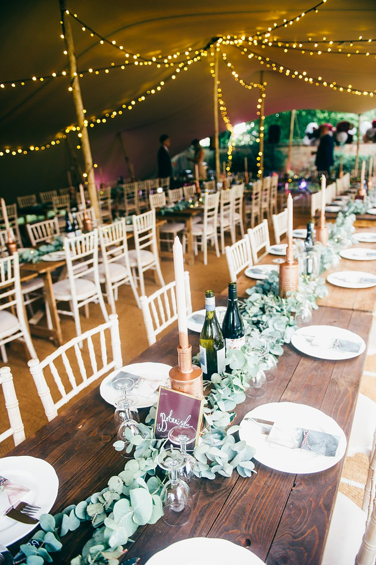 Stretch Tent Marquee Fairy Lights Rustic Tables Decor Whimsical Stylish Burgundy Rose Gold Tent Wedding https://www.jakemorley.co.uk/