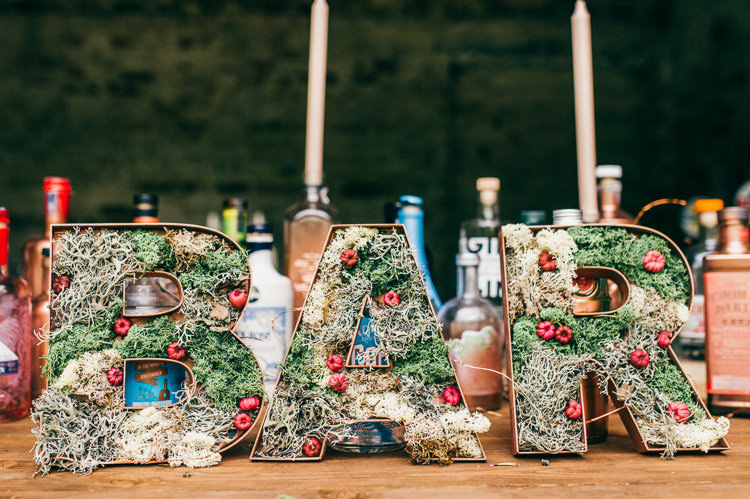 Bar Letters Moss Wire Whimsical Stylish Burgundy Rose Gold Tent Wedding https://www.jakemorley.co.uk/