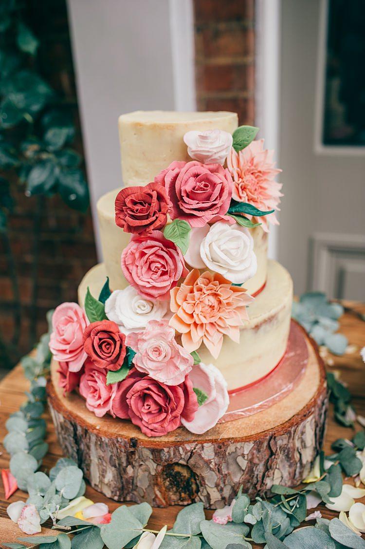Buttercream Cake Flowers Floral Log Stand Greenery Whimsical Stylish Burgundy Rose Gold Tent Wedding https://www.jakemorley.co.uk/
