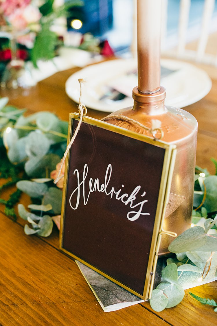 Gin Table Name Black Chalk Boards Whimsical Stylish Burgundy Rose Gold Tent Wedding https://www.jakemorley.co.uk/