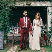 Whimsical Stylish Burgundy & Rose Gold Tent Wedding