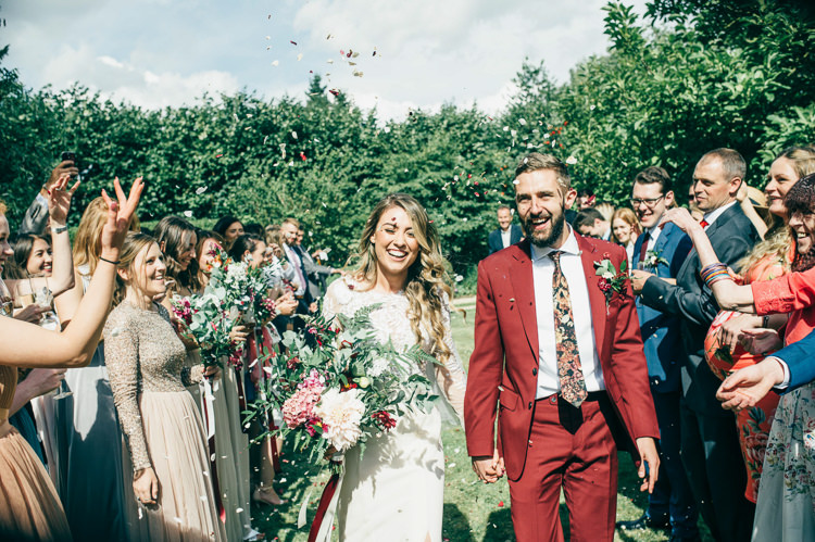 Confetti Throw Bride Groom Whimsical Stylish Burgundy Rose Gold Tent Wedding https://www.jakemorley.co.uk/