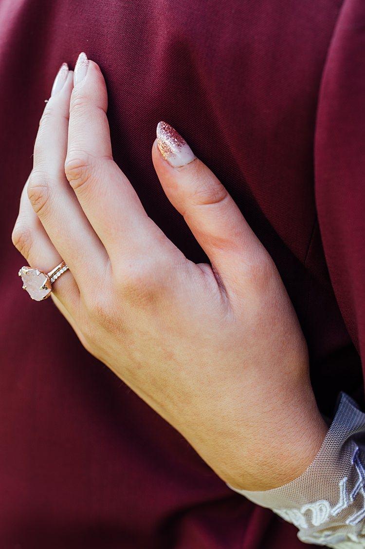 Rings Engagement Eternity Bride Bridal Nails Manicure Rough Gem Diamond Whimsical Stylish Burgundy Rose Gold Tent Wedding https://www.jakemorley.co.uk/