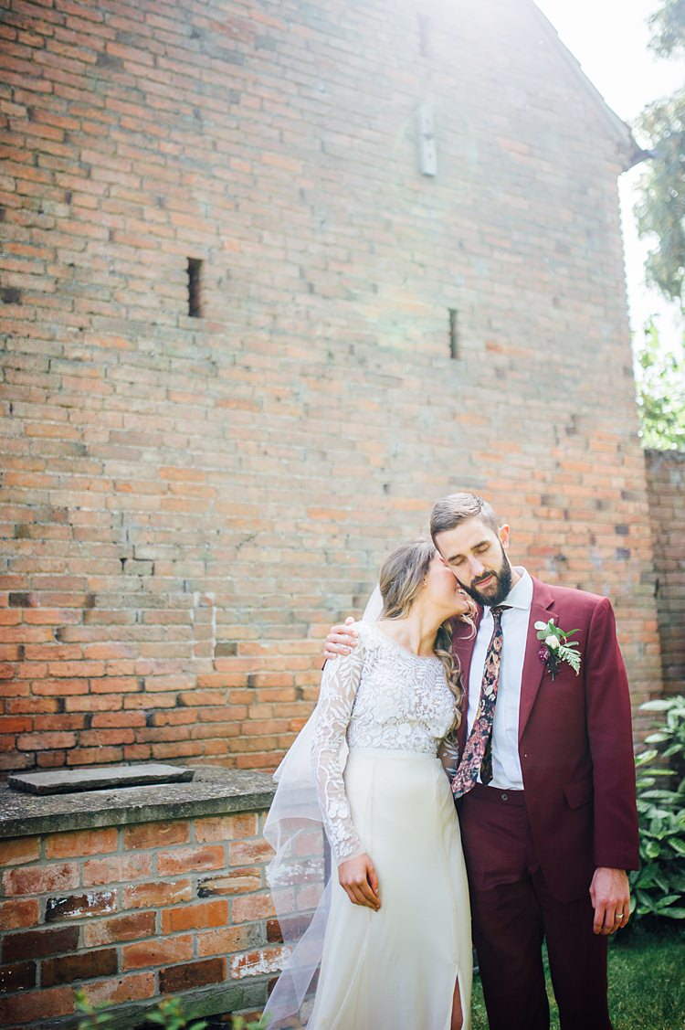 Hermione de Paula Dress Gown Bride Bridal Embroidered Sleeves Veil Whimsical Stylish Burgundy Rose Gold Tent Wedding https://www.jakemorley.co.uk/
