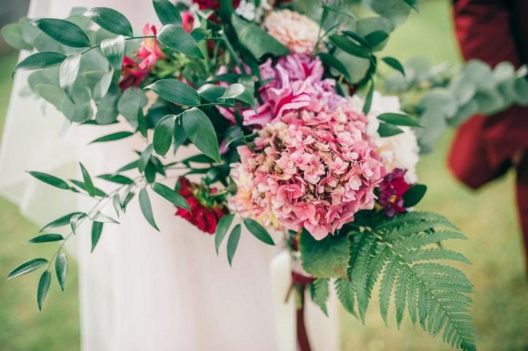 Pink Hydrangea Bouquet Flowers Bride Bridal Whimsical Stylish Burgundy Rose Gold Tent Wedding https://www.jakemorley.co.uk/