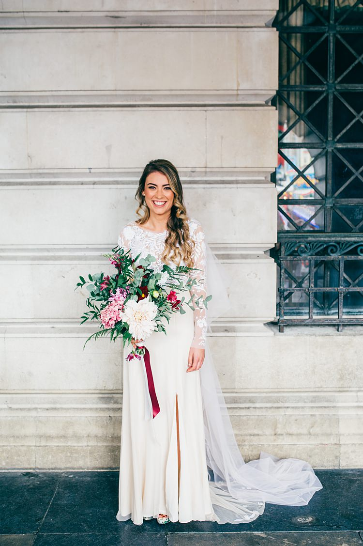 Hermione de Paula Dress Gown Bride Bridal Embroidered Sleeves Veil Bouquet Large Pink Flowers Split Whimsical Stylish Burgundy Rose Gold Tent Wedding https://www.jakemorley.co.uk/