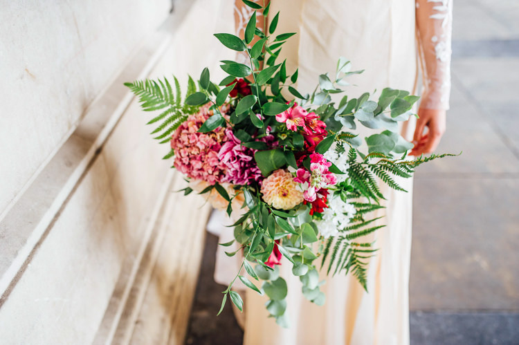 Bouquet Ferns Flowers Hydrangea Pink Bride Bridal Whimsical Stylish Burgundy Rose Gold Tent Wedding https://www.jakemorley.co.uk/