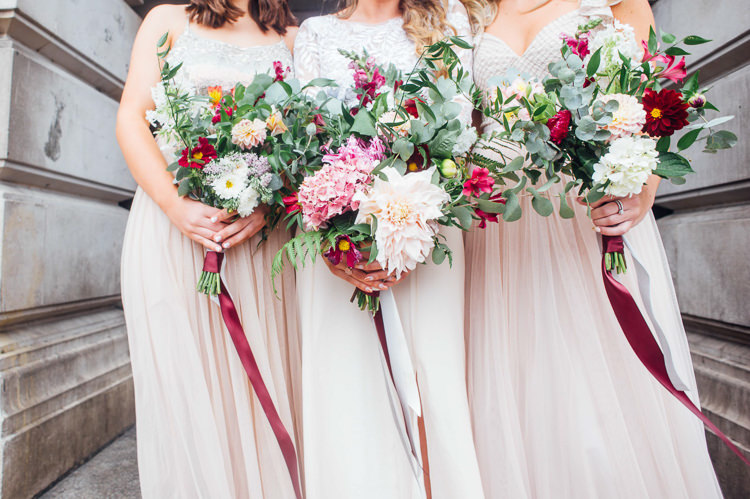 Bride Bridal Bridesmaid Bouquets Ribbon Foliage Greenery Pink Dahlia Hydrangea Whimsical Stylish Burgundy Rose Gold Tent Wedding https://www.jakemorley.co.uk/