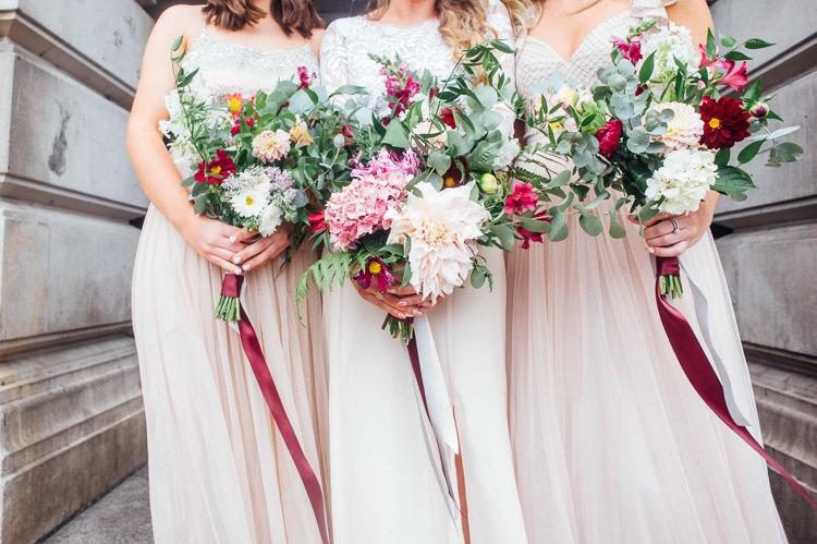 Bride Bridal Bridesmaid Bouquets Ribbon Foliage Greenery Pink Dahlia Hydrangea Whimsical Stylish Burgundy Rose Gold Tent Wedding https://www.jakemorley.co.uk/