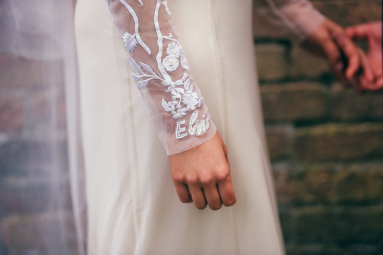 Hermione de Paula Dress Gown Bride Bridal Embroidered Sleeves Personalised Veil Whimsical Stylish Burgundy Rose Gold Tent Wedding https://www.jakemorley.co.uk/