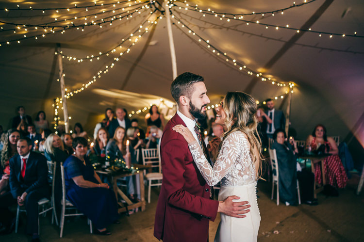 First Dance Festoon Fairy Lights Whimsical Stylish Burgundy Rose Gold Tent Wedding https://www.jakemorley.co.uk/