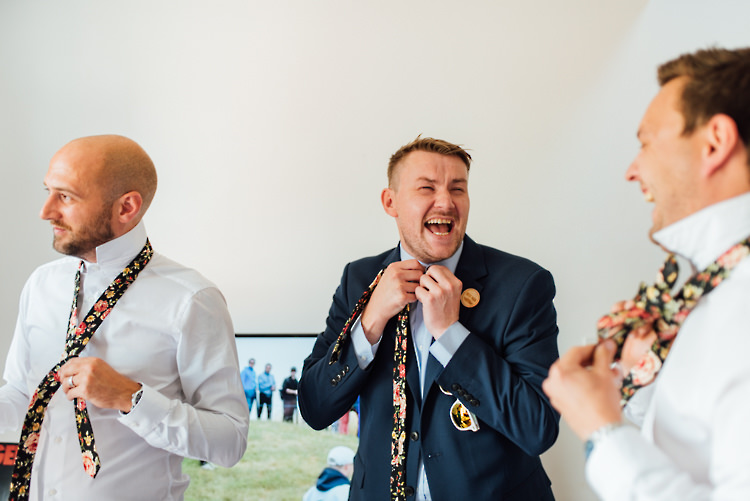 Floral Tie Groom Groomsen Alternative Colourful Outdoor Humanist Village Hall Wedding http://www.chebirchhayesphotography.com/
