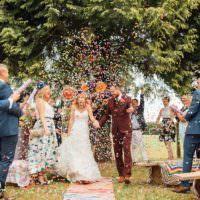 Alternative Colourful Outdoor Humanist Village Hall Wedding