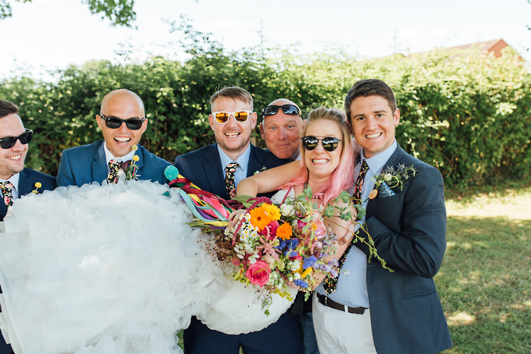 Groomsmen Sunglasses Jackets Chinos Alternative Colourful Outdoor Humanist Village Hall Wedding http://www.chebirchhayesphotography.com/