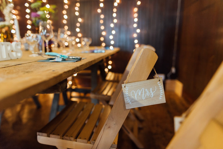 Wooden Mrs Sign Chair Alternative Colourful Outdoor Humanist Village Hall Wedding http://www.chebirchhayesphotography.com/