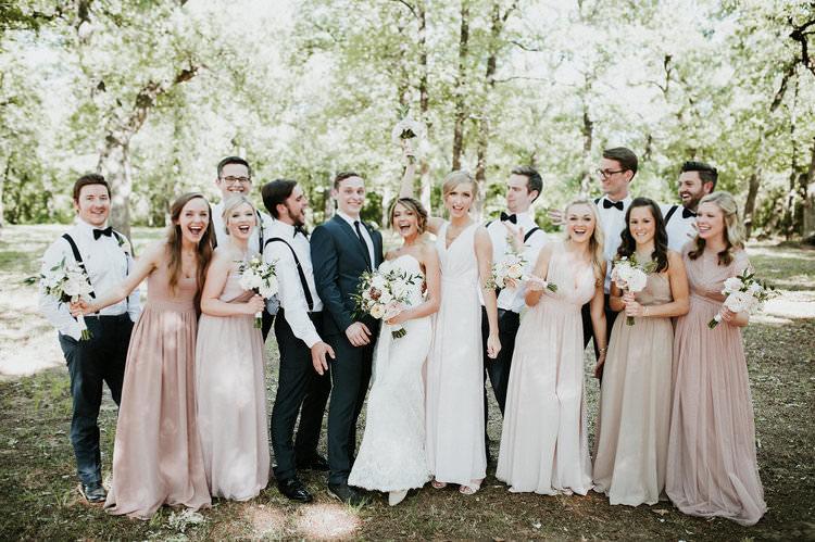 Outdoor Rustic Boho Forest Blush Bridesmaids Navy Groomsmen Group | Organic Earthy Fun Wedding Oklahoma http://zaynewilliams.com/