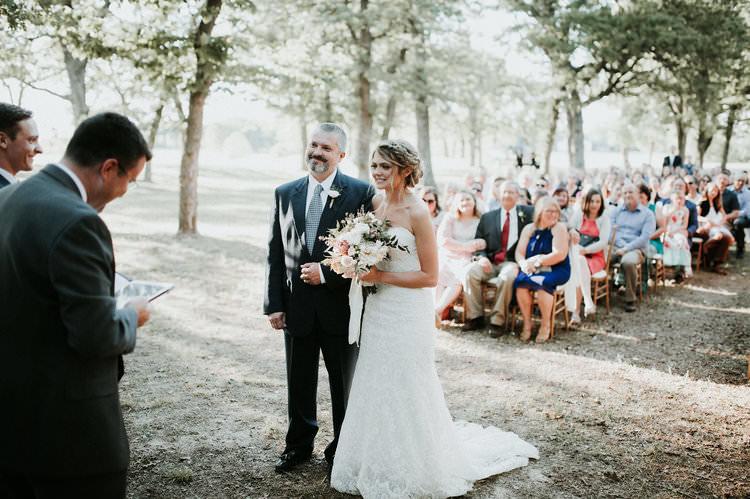 Outdoor Rustic Boho Forest Ceremony Bride Bouquet Father Aisle | Organic Earthy Fun Wedding Oklahoma http://zaynewilliams.com/