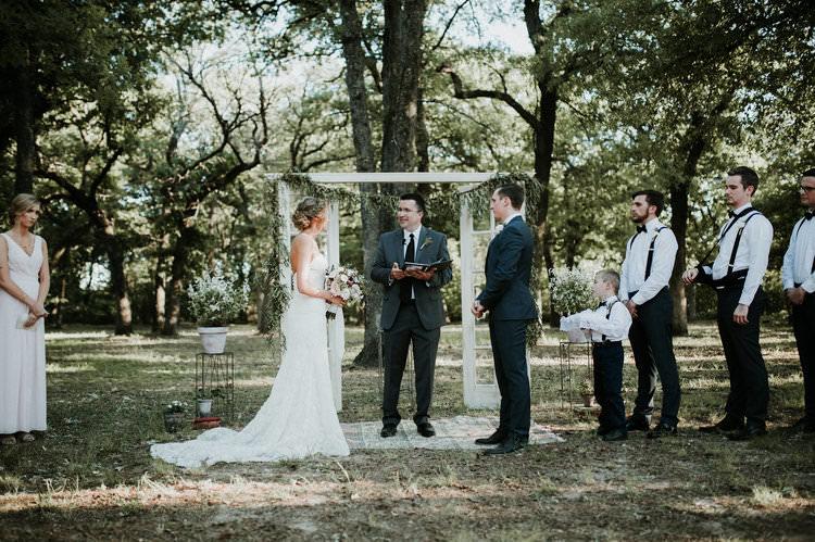 Outdoor Rustic Boho Forest Ceremony Backdrop Rug Vintage Door Window | Organic Earthy Fun Wedding Oklahoma http://zaynewilliams.com/