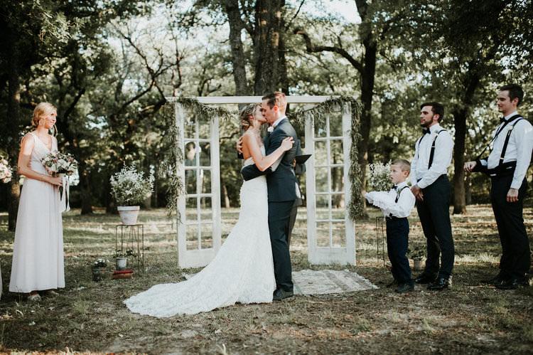 Outdoor Rustic Boho Forest Ceremony Backdrop Rug Vintage Door Window Kiss | Organic Earthy Fun Wedding Oklahoma http://zaynewilliams.com/