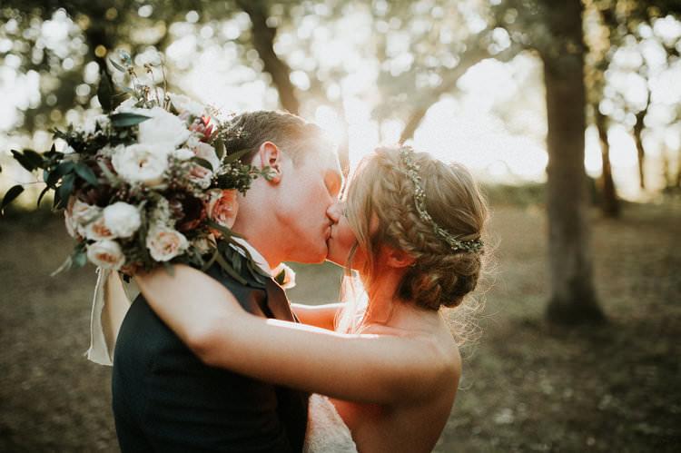 Outdoor Rustic Boho Forest Natural Sweetheart Updo Bride Kiss Sunlight Blush Bouquet | Organic Earthy Fun Wedding Oklahoma http://zaynewilliams.com/