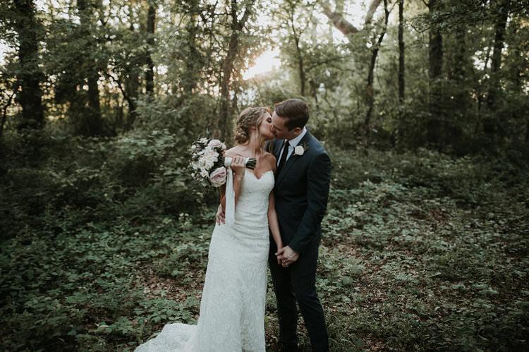 Outdoor Rustic Boho Forest Natural Sweetheart Updo Bride Groom Bouquet Kiss | Organic Earthy Fun Wedding Oklahoma http://zaynewilliams.com/