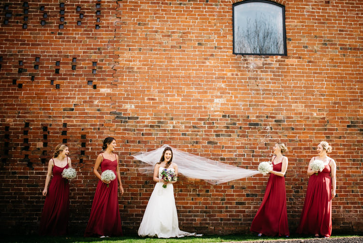 Long Bridesmaid Dresses Red Rustic Spring Barn Wedding http://www.jennymacare.com/