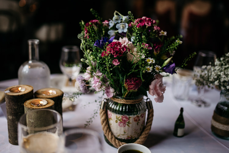 Jar Flowers Centrepeice Decor Table Red Rustic Spring Barn Wedding http://www.jennymacare.com/